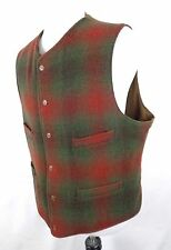 Vtg Polo Ralph Lauren XL Vest Plaid Wool Nylon Red Green 6 Button 5 Pocket USA