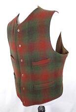 Vtg Polo Ralph Lauren XL Vest Plaid Wool Nylon Red Green 6 Button 5 Pocket USA