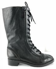Via Spiga Gwendolyn Lace Up Genuine Black Leather Combat Boots Womens US Size 8M