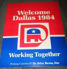 REAGAN BUSH 1984 WELCOME DALLAS CONVENTION WORKING TOGETHER POSTER 12X15