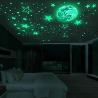 Luminous Moon and Stars Wall Stickers for Kids Room Baby Nursery Home Decoration
