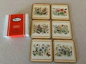 Vtg Acrylic Pimpernel Coasters Field Flowers Set Of 6 Cork Back Square