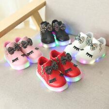 LED Light Up Luminous Sport New Baby Boys Girls Kids Bow Running Shoes Sneakers