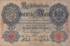 1910 Germany 20 Mark Note, Pick 40b