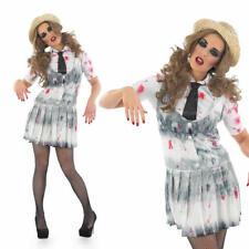 Ladies Sexy Zombie School Girl Fancy Dress Costume Womens Fancy Dress Outfit L