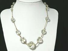 Link & Graduated Clear Glass Bead Necklace Vintage Art Deco Rolled Gold Wire Bar