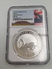 2017 P Australia 1 oz .999 Silver Swan Coin  $1 NGC MS70 FR (Australia Label)