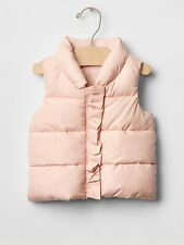 GAP Baby Girl Size 6-12 Months Light Pink Puffer Vest Coat Jacket w/Ruffle Trim