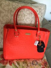 Kate Spade Leather Ostrich Embossed Wellesley Quinn Tote Bag