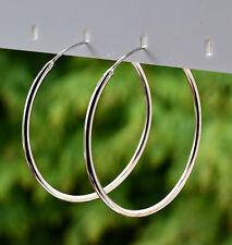 Sterling Silver 925 Plain 40mm Large Hoop Earrings