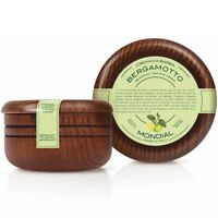 Mondial Luxury Italian Shaving Cream in Wooden Bowl Classic Shave Bergamot 140ml