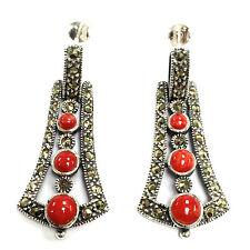 Plata Esterlina Ley Art Nouveau Marcasita & pendientes de coral rojo 925