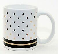 Blue Harbor Large 14 oz Ceramic Cup Mug White Gold Polka Dots Black NWOT