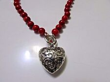 8 mm ROUND RED CORAL NECKLACE WITH 925 SILVER HEART PENDANT HANDMADE 18 in.