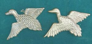 2 Vintage brass wall hanging flying ducks