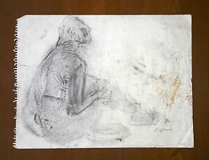 """JOSE CLEMENTE OROZCO 23"""" x 19.5"""" CHARCOAL ON PAPER DRAWING ON EACH SIDE SIGNED"""