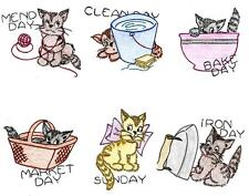 Vintage Embroidery Transfer repo 7 Busy Days of the Week Kittens for Dish Towels