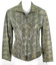 Adler Leather Moto Jacket Sz S Snake Print Zip Front Motorcyle Gray Tan Small