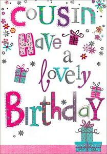 Cousin Have A Lovely Birthday Card, Presents & Flowers With Silver Detail