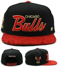 Chicago Bulls New Mitchell & Ness LUXE Leather Black Red Era Snapback Hat Cap
