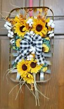 Farmhouse, Country, Metal Tobacco Basket with sunflowers, cotton & buffalo plaid
