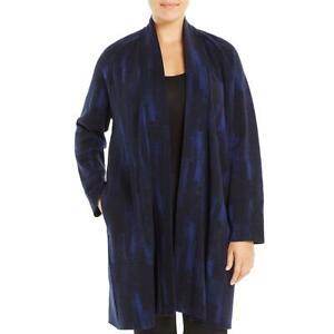 Eileen Fisher Womens Navy Wool Blend Cardigan Top Jacket Plus 2X BHFO 9139