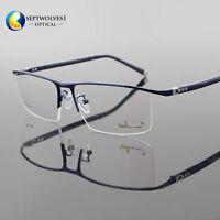 New Designer Men's Half Rimless Titanium Alloy Eyeglass Frames Optical RX Able