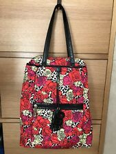 Betsey Johnson Convertible Floral Cheetah Print Backpack Satchel EUC