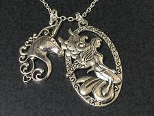 "Unicorn & Fairy Large Horse Charm Tibetan Silver 18"" Necklace BIN"