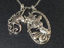 "Unicorn & Fairy Large Horse Charm Tibetan Silver 18"" Necklace BIN"