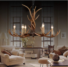 6-Light Retro Rural Antler Chandeliers Deer Horn Resin Pendant Lamps Lighting