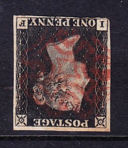 GB QV 1840 SG2wi 1d black inverted wmk just about 4 margs fine red MC cat £2500