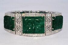 233.59CT Natürlich Hand Geschnitzt Smaragd & Diamantarmband VVS 18K Wg