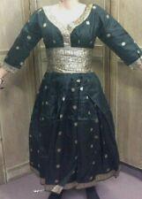 Vintage Kurta Black With Golden Border Dress Indian Below Knee Women Size S