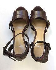 CARVELA platform sandals size 36 (UK 3) dark brown leather high heel ankle strap