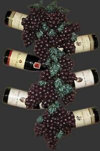 Wall Plaque Grape wine bottle holder bar cafe gamesroom home art decor
