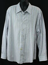 Gap Premium Mens Shirt Size 2XL Light Blue Stripes Long Sleeve Button Down