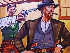 ASSASSINATION OF JESSE JAMES PAINTING western brad pitt affleck cigar pistol gun