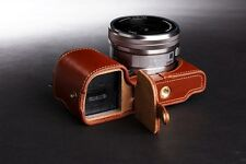 Genuine real Leather Half Camera Case bag cover for Sony NEX6 NEX-6 Bottom Open