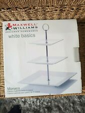 MAXWELL & WILLIAMS WHITE BASICS MONACO SQUARE 3 TIER CAKE STAND BNIB