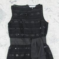 Trina Turk Sleeveless delicate  silk sequins black waist sash sheath dress sz 4