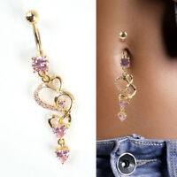 Rhinestone Body Piercing Dangle Crystal Navel Belly Button Bar Barbell Ring
