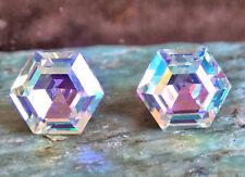 Aurora Borealis Stud Earrings 10mm Hexagon Vintage Swarovski Crystal Rhinestones