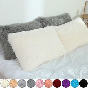 "Luxury Fluffy Fur Cushion Covers Furry Throw Plush Pillow Case Bed Sofa 20""X 27"""
