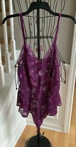Victoria's Secret Vintage Lace Purple Aubergine Bodysuit Lingerie SZ L NEW!