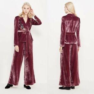 FREE PEOPLE Velvet Purple Beaded Pant Suit