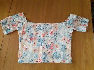 Hollister Floral Lace Crop Bardot Top Size S