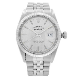 Rolex Datejust 36mm Steel Silver Linen Dial Automatic Mens Watch 16030