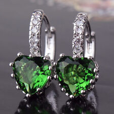 REAL 18CT White Gold Filled Emerald Green Heart Earrings for Birthday Gift
