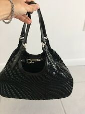 Cole Haan Genevieve Woven Black Pat Leather Weave Tote Purse, GUC! Sale Nice